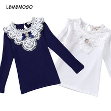 цена LEMEMOGO Girls Blouses 2019 Spring Lace School Girl Blouse Cotton Embroider Baby Girls Shirt Autumn Long-Sleeve Children Clothes онлайн в 2017 году