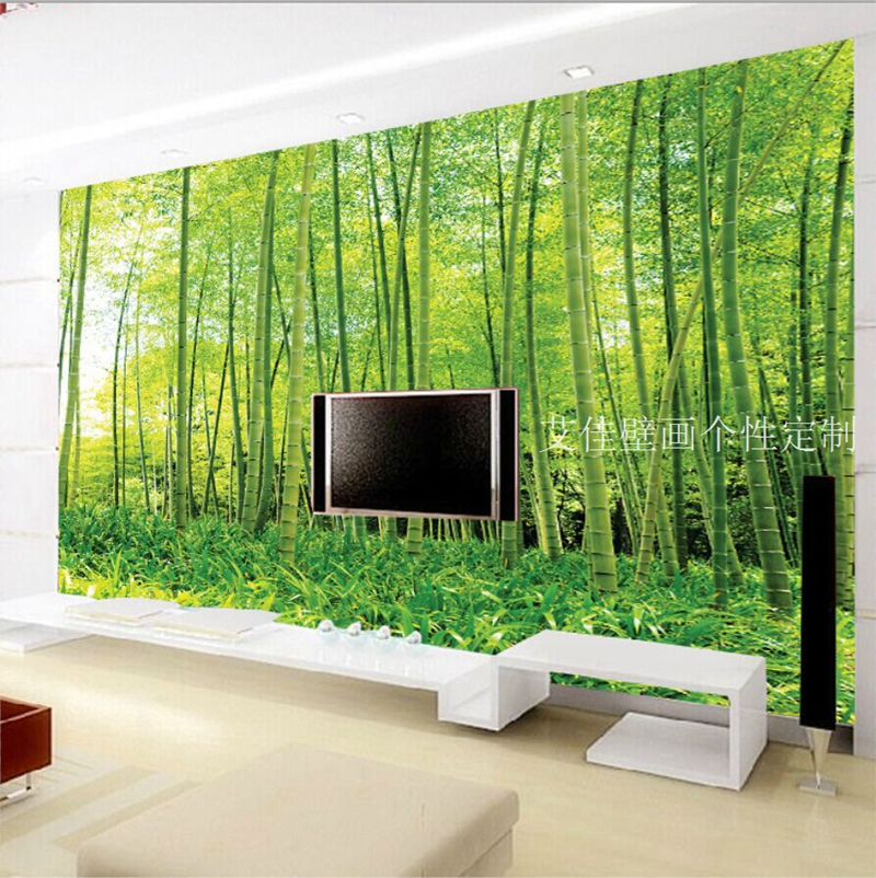 Online get cheap bamboo wallpaper mural for Bamboo forest wall mural wallpaper