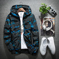Jacket Mens Bomber  Thin Slim Long Sleeve Camouflage Military Jackets Hooded 2017 Spring Korean Style Army Brand Clothing Blue