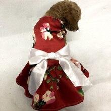 Cute Flower Pattern With Bowknot Dog Dress Clothes Cozy Sleeveless Shirt Pet Sundress Princess Party kirt