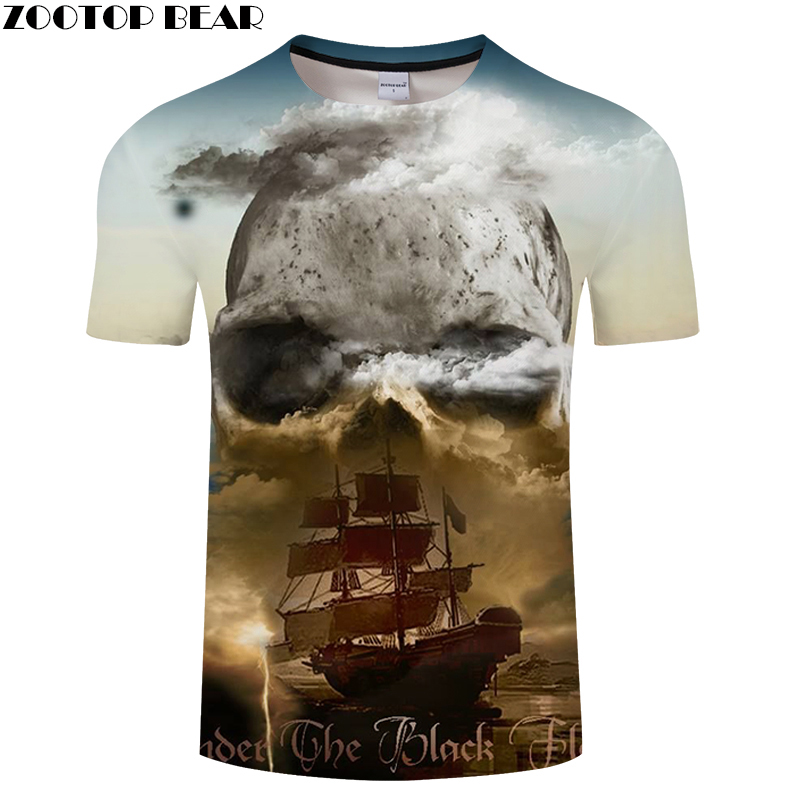 Boat&Skull 3D Print t shirt Men Women tshirt Summer Casual Short Sleeve Groot Tops&Tee Camiseta Streatwear Drop Ship ZOOTOP BEAR