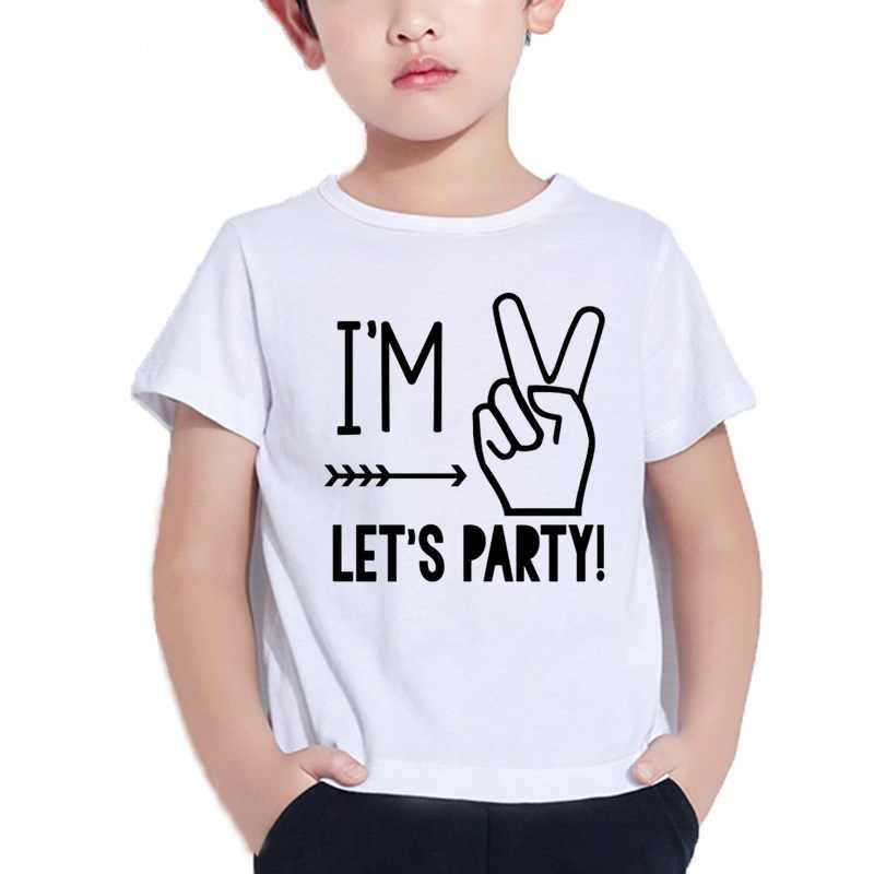 2019 ใหม่ชายหญิงผม 1/2/3/4/5 Let's Party รูปแบบเด็ก T เสื้อตลกฤดูร้อนสีขาวจำนวนพิมพ์เด็กเสื้อยืด