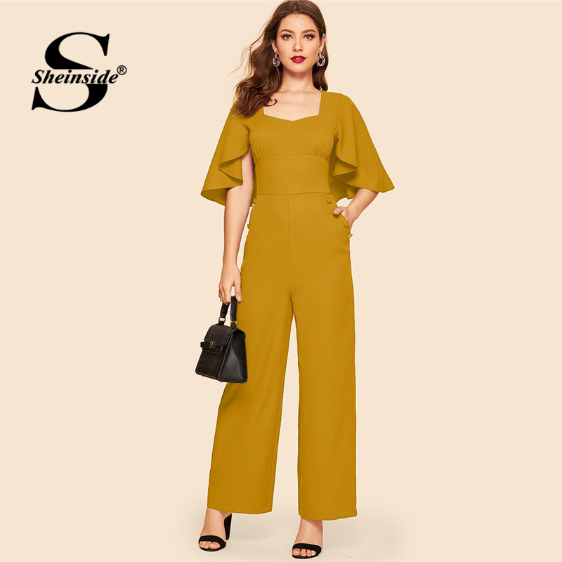 Sheinside Ginger Sweetheart Neck Tie Back Cloak Sleeve Palazzo   Jumpsuit   Women Vintage Maxi   Jumpsuits   Ladies Wide Leg   Jumpsuit