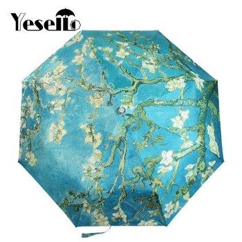 Yesello Vincent van Gogh migdałowy kwiat obraz olejny trzy składane Art parasol 8 żebra odporny na wiatr rama dla kobiet