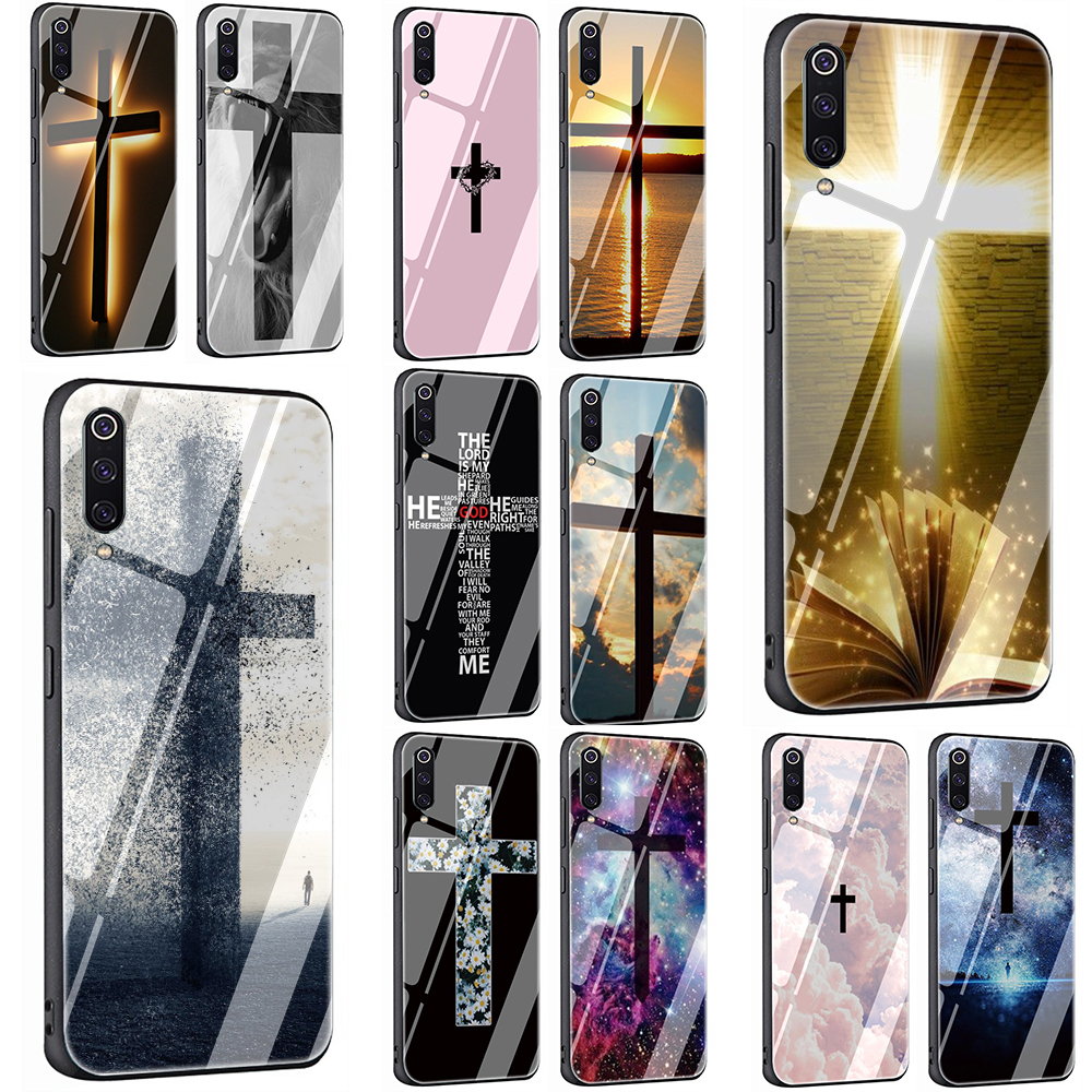 Bible Jesus Christ Christian Cross Tempered Glass Phone Cover Case For Redmi 4X 6A Note 5 6 7 Pro Xiaomi Mi 8 Lite A1 A2 5X 6X 9