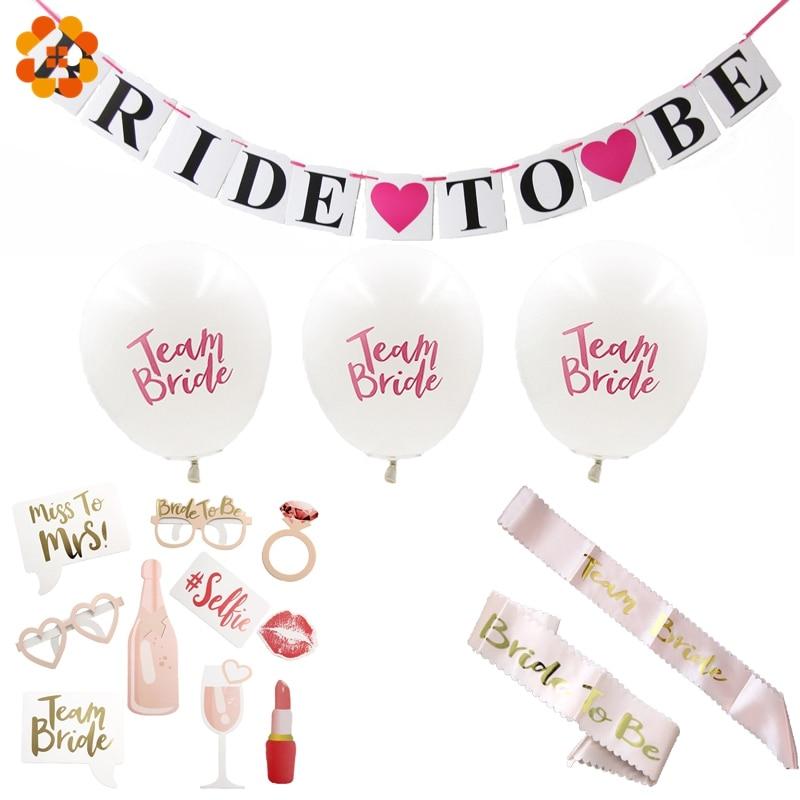 Wedding Party Supplies White Balloons Team Bride&Bride To Be Pink Sash Shoulder Strap Bridesmaids Photobooth Wedding Decoration