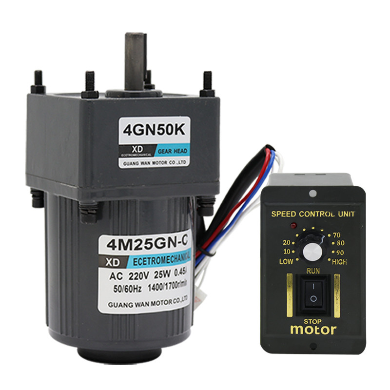 4M25GN-C AC <font><b>220V</b></font> 25W Single Phase <font><b>gear</b></font> Geared AC <font><b>motor</b></font> with CW/CCW Adjustable Speed Controller Unit Asynchronous <font><b>motor</b></font> image