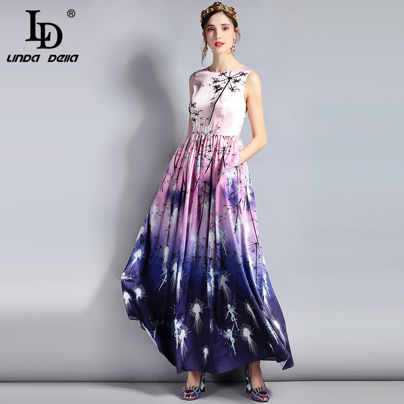 Robes Sans Mode Imprimer Femmes Créateur Nouveau Longue Multicolore Multi Linda Pleine Maxi Ld Élégant Robe Longueur De Parti Della Manches fgb6yY7