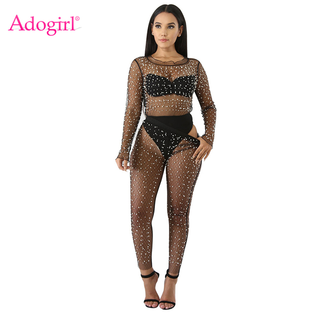 783d2f8c3 Adogirl Sexy Sheer Mesh Pearls Two Piece Set Women Night Club Outfits Long  Sleeve Tees Tops