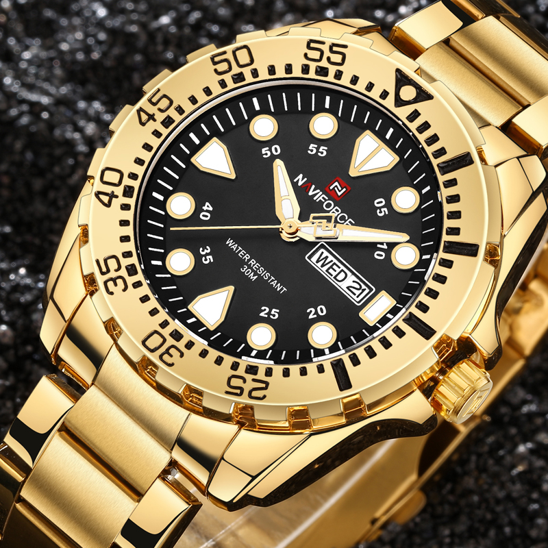 relogio masculino NAVIFORCE Watches Men Luxury Brand Sport Quartz Watch Men's Waterproof Military Clock Man Full Steel Watch luxury brand naviforce men sport watches waterproof led quartz clock male fashion leather military wrist watch relogio masculino