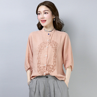 Embroidery Cotton And Linen Women Blouses Batwing Sleeve Vintage Ethnic Style Artistic Women Tops Casual Shirt Women