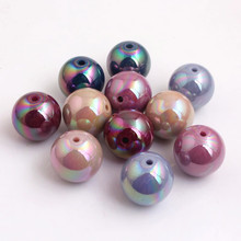 Kwoi Vita Fall Colors  Acrylic Solid Round ab Beads for DIY Bracelet Chunky Bubbulegum Necklace Making 12mm 16mm 20mm