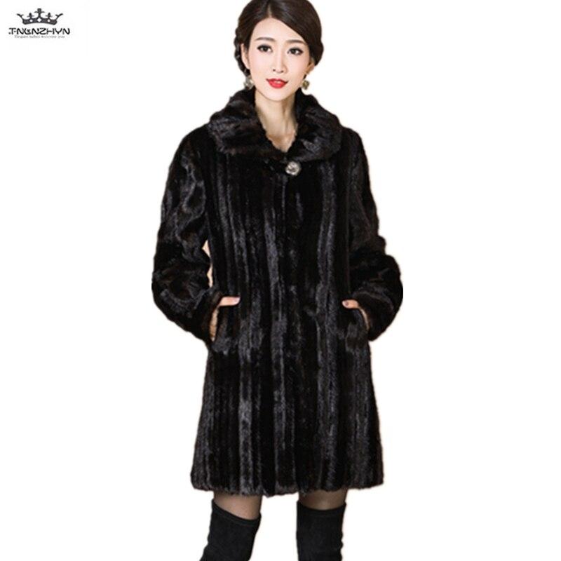 Kadın Giyim'ten Yapay Kürk'de Sıcak Vizon Kürk Ceket Artı Boyutu M 5XL Gevşek Kadın Yüksek end Kürk Ceketler Parka Kadın Kış Lüks Ceket Uzun kalın Kürk Palto A66'da  Grup 1
