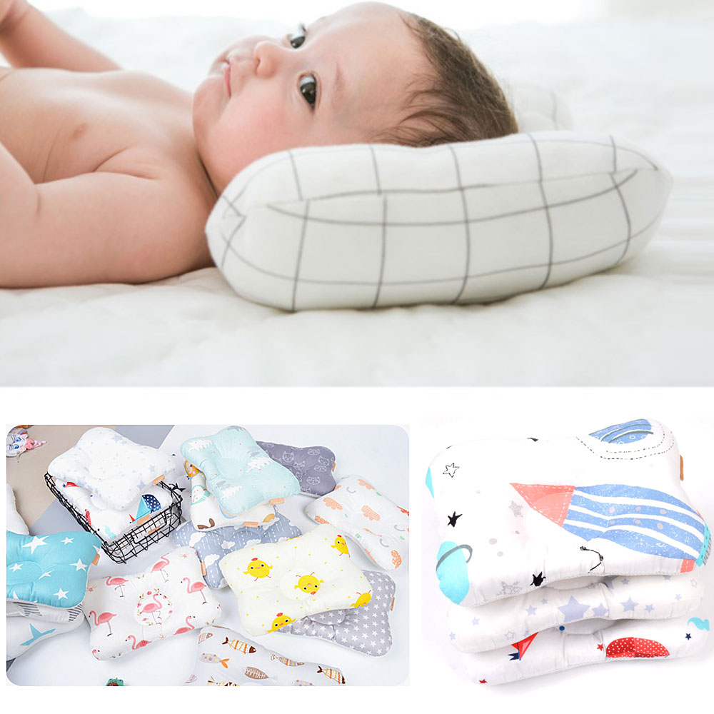 Cartoon Baby Pillow Infant Shape Toddler Sleep Positioner Anti Roll Cushion Flat Head Pillow Protection Newborn Almohadas Bebe