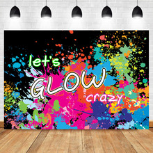 NeoBack Neon Party Backdrop Let's Glow Splatter Photography Background Neon Paint Splatter Photo Booth Backdrops