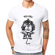 Promotion Funny Hip Hop Tee Shirt Chimpanzee Monkey Men T-shirt Cotton White Gorilla Angel Printed Mens T shirts Clothes