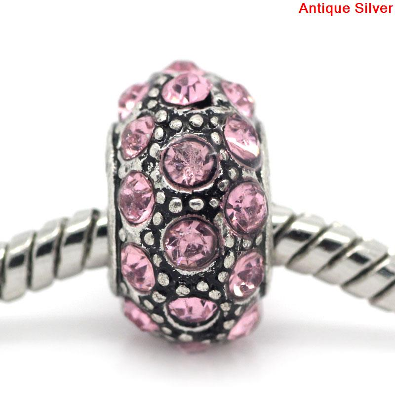 DoreenBeads European Charm Beads antique silver W/Pink Rhinestone 13x8mm,Hole:Approx:5mm,5PCs 2015 new
