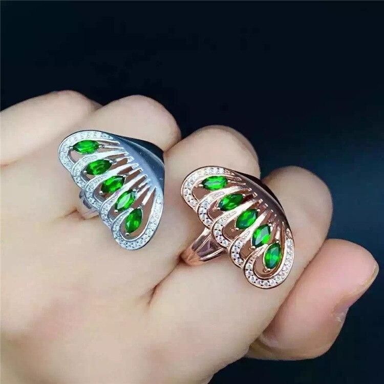 KJJEAXCMY bijoux fins 925 argent pur naturel pierre transparente femme style anneau incrustation bijoux couleur pierre gemme phoenix queue m