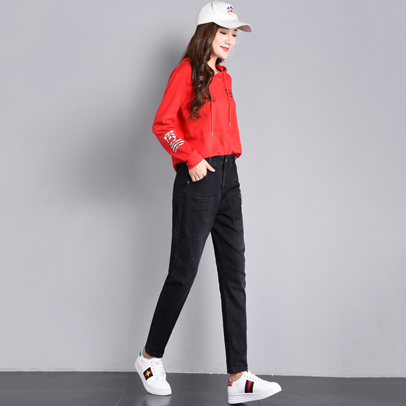 Bleached Jeans Length Women Denim New Spring Harem Female Casual Waist Loose Pants Pockets Full Autumn Black Trousers With High Zwvvqx