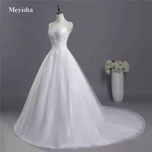 Image 2 - ZJ9041 2018 koronki paski spaghetti białe kości słoniowej moda seksowne suknie ślubne dla panny młodej maxi plus size rozmiar 2 26W pociągu