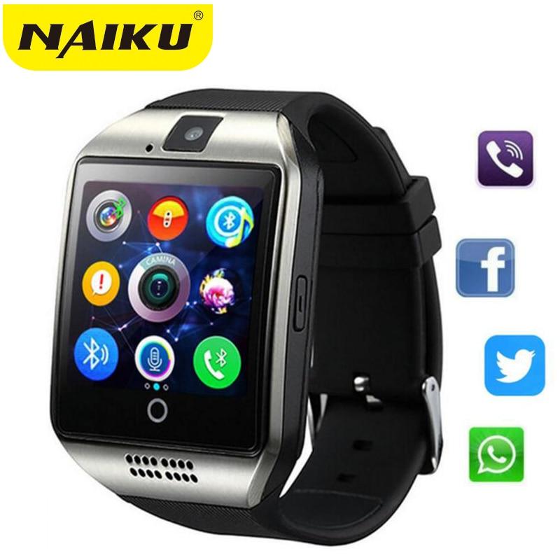 Q18 Smartwatch Bluetooth Relógio Inteligente Android Phone Call 2 Relogio g GSM SIM Câmera Cartão TF para iPhone Samsung HUAWEI PK GT08 A1
