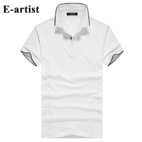 E artist Men's Short Sleeve Turn down Collar Cotton T Shirts Shirts Male Slim Fit Casual Summer Tees Tops Plus Size T725