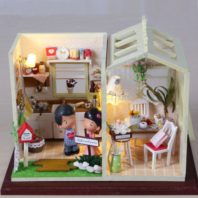 Miniature Cozy Kitchen Craft Model Wood Dollhouse Furniture LED Lights Kit Home Decor DIY Doll House