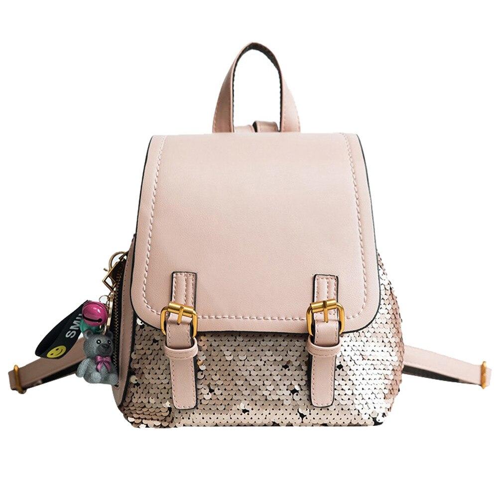 Womens Fashion Backpack Female Bling Sequins Patchwork Rucksack School Bag Popular JUNE1