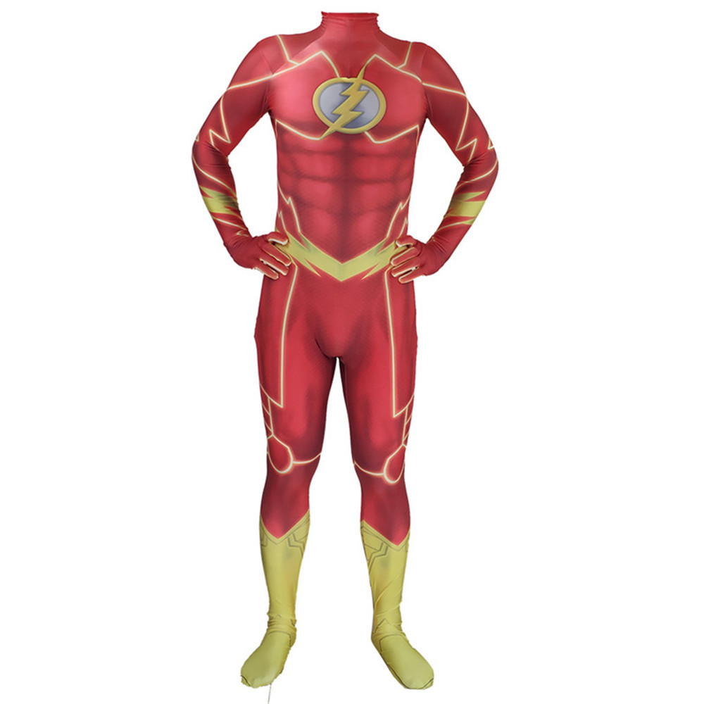 Adult Kids The <font><b>Flash</b></font> Cosplay <font><b>Barry</b></font> <font><b>Allen</b></font> Superhero <font><b>Costume</b></font> Halloween Outfit Adult Men Suit image