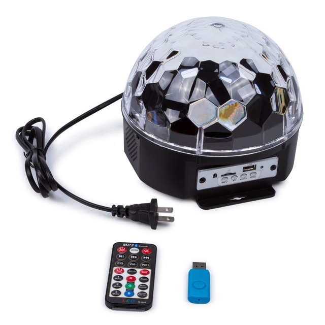 Bluetooth 6 color LED MP3 Crystal Magic Ball Light Strobe Disco Stage Light Christmas LED RGB Ball Light with Remote control