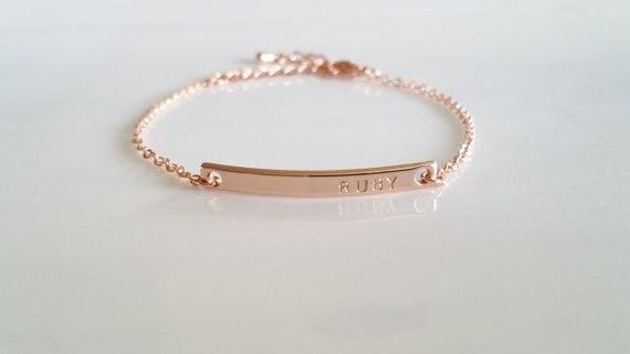 150ba5b7d1562a solid 925 sterling silver name bracelet Personalized Rose Gold Jewelry Gold  Bracelet Dainty Bar Bracelet Custom