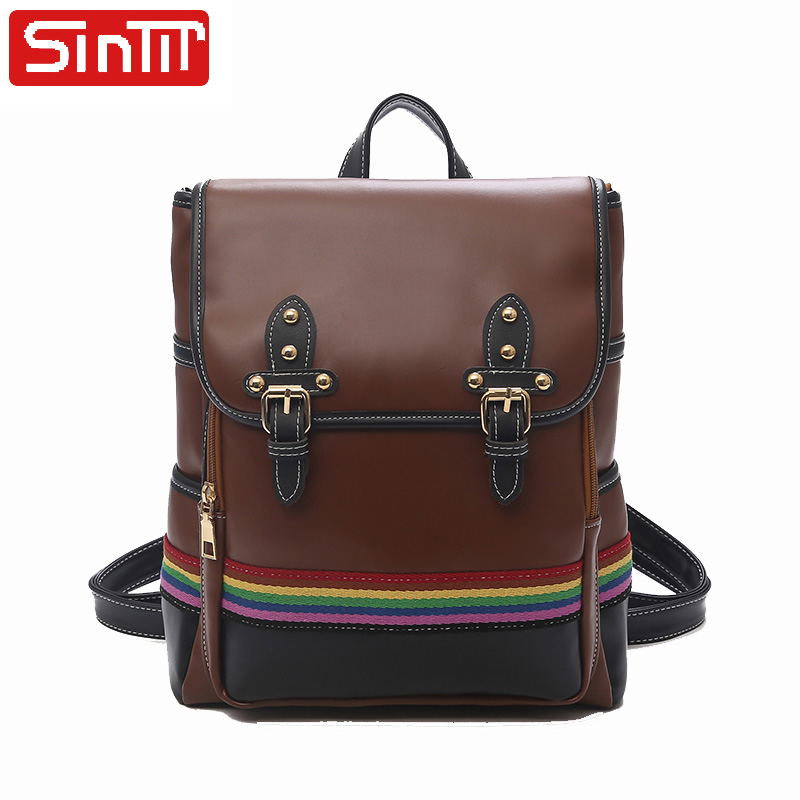 SINTIR Multifunction Backpack Female School Bags For Teenager Girls High Quality PU Leather Shoulder Backpack Women Daily Pack
