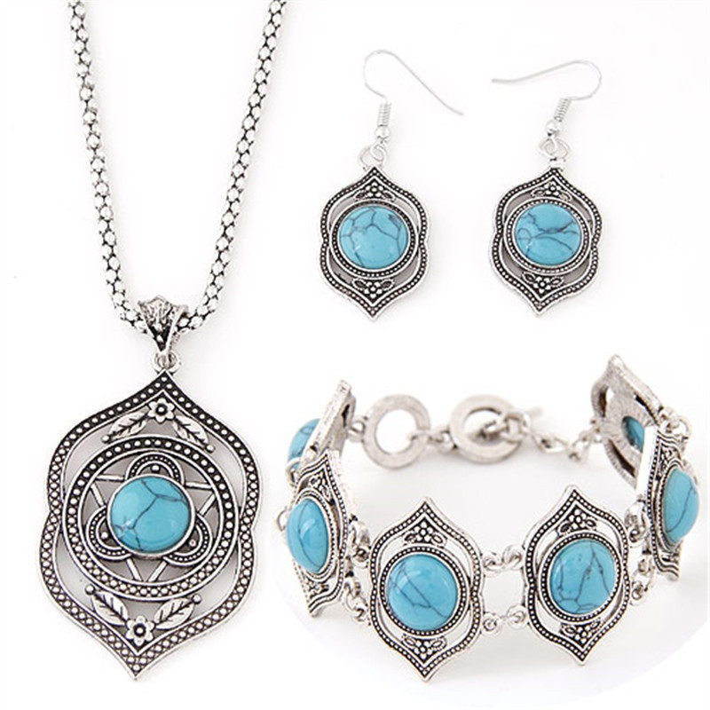 Classic Style Female Boutique  Accessories Beautiful Green Stone Bracelet Necklace Earrings Silver Color Jewelry Set