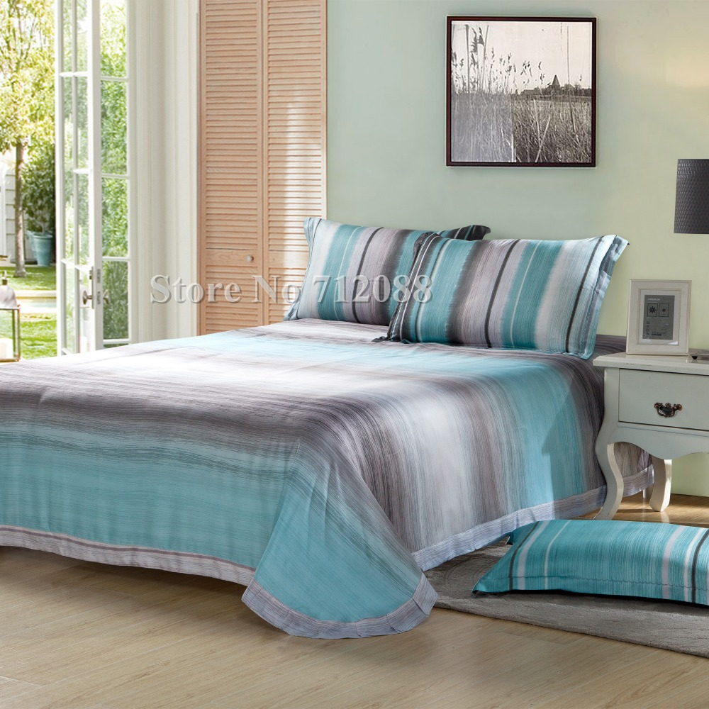 free shippingluxurious tencel pc fullqueenking bedding sets  - free shippingluxurious tencel pc fullqueenking bedding sets blue graymodern stripe printed quiltduvet covers home textilein bedding sets fromhome