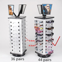 Aluminum Plastic Board Eyeglass Sunglasses Display Holder Stand For 44pairs Each Distance 0 5cm Total Height