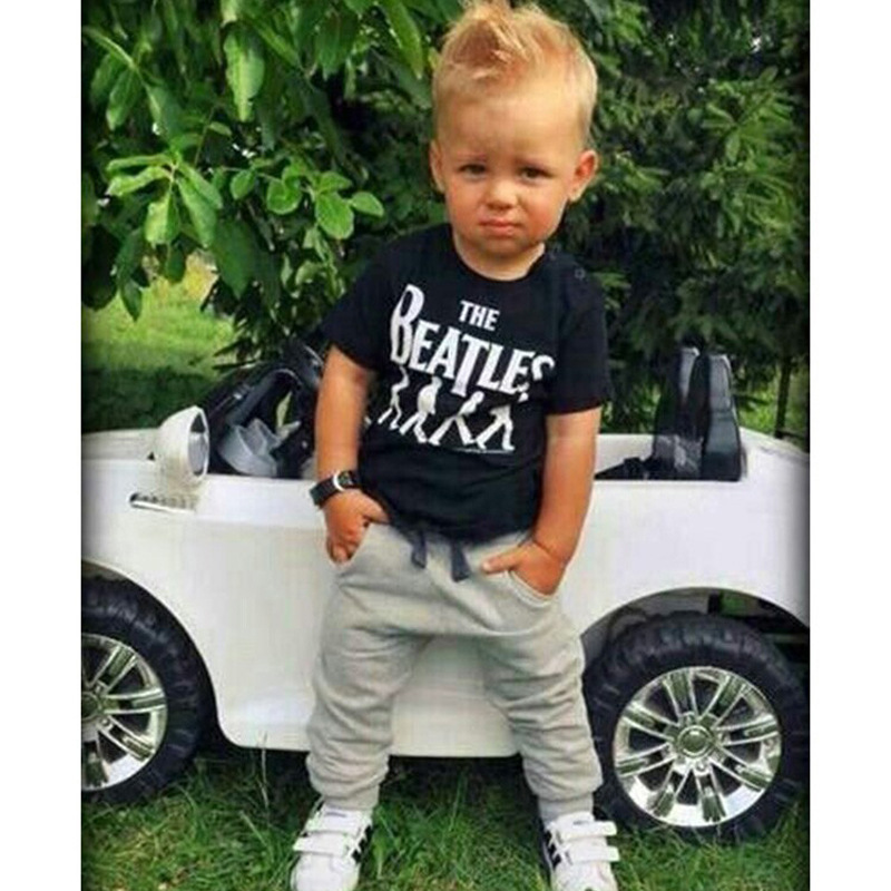 New 2016 fashion Baby Boy clothes 2pcs Short Sleeve T-shirt Tops and Pants Outfit Clothing Set Suit with The Beatles printed