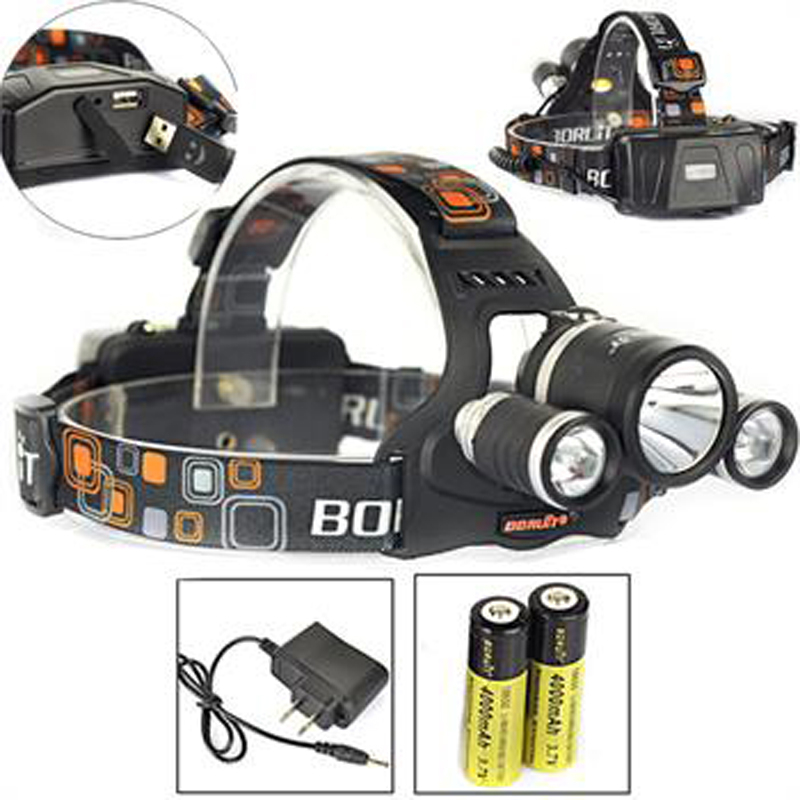 BORUIT 8000Lm 3x XM-L2 LED Headlamp Headlight Torch USB Lamp+2X 18650+AC Charger Rechargeable Head Lamp Camping Bicycle Light
