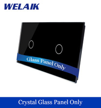 WELAIK  Touch Switch DIY Parts  Glass Panel Only of Wall Light Switch Black Crystal Glass Panel 1Gang+1Gang  A2911B1