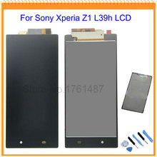 Black For Sony xperia Z1 L39H C6902 C6903 LCD Screen Display with touch screen digitizer Assembly + sticker + Tool Free shipping