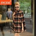 Europeu Feminino Trench Coat Novas Mulheres Casacos de Inverno e Outono Blusão Xadrez Moda outerwear Casaco Curto F159