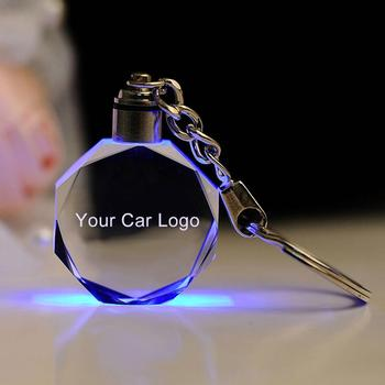 Fashion Colorful LED Light Luminated Keyring Cut Glass Keychain Car Logo Keyring Key Chains Key Holder for Audi VW Benz Ford BMW