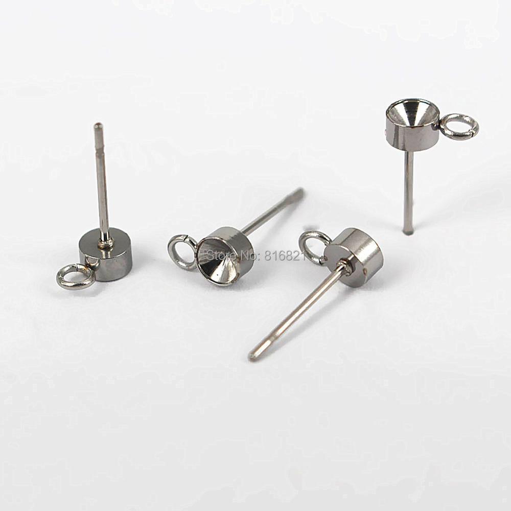 Stainless Steel Stud Earrings Post Findings Circle Bezel with Loop Point  Rhinestone Cabochons Bases Earrings post DIY Findings fd44f82c4159