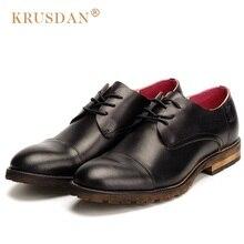 KRUSDAN Vintage Formal Man Derby Dress Shoes Genuine Leather Cap Top Handmade Oxfords Round Toe Lace up Men's Wedding Flats