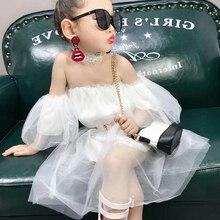 Летнее повседневное однотонное Сетчатое платье феи без рукавов с открытыми плечами для маленьких девочек хлопковый сарафан для малышей очень красивый LT