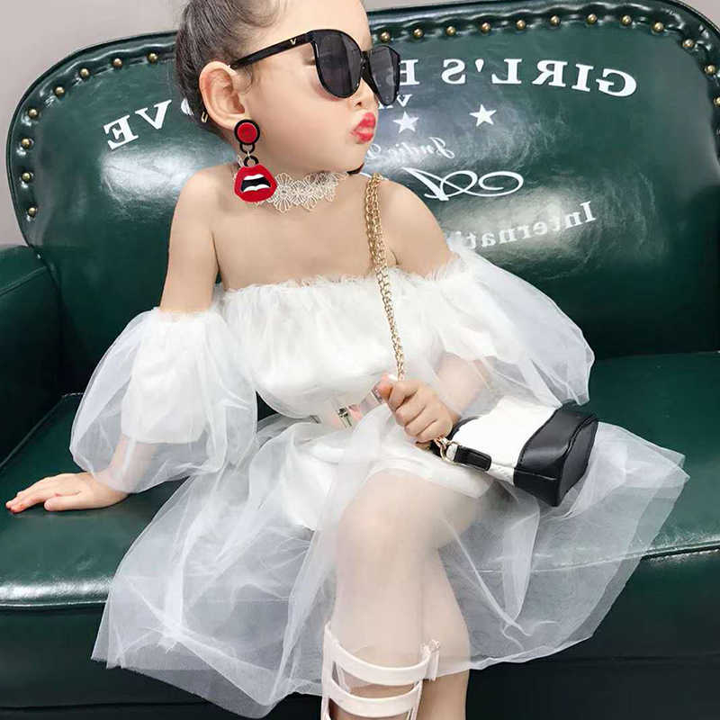 Summer Casual Baby Girls Solid Pattern Off-shoulder Sleeveless Mesh Fairy Dress Cotton Kids Toddler Sundress Super Pretty LT
