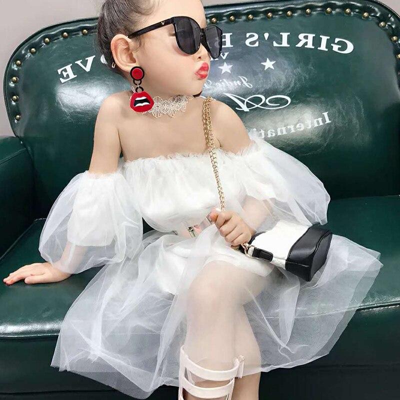 Летнее Повседневное платье феи для маленьких девочек, однотонное Сетчатое платье без рукавов с вырезом на плечах, хлопковый Детский сарафа...