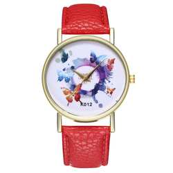 Женские кожаные Аналоговые кварцевые наручные часы в стиле бабочки