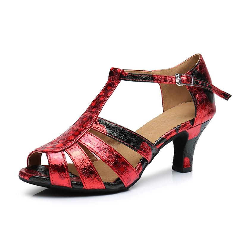 ФОТО Ladies Soft Sole Satin Upper Salsa Dance Shoes 5cm/6cm/7.5cm High Heel Latino Women Dancing Shoes Plus Size 34-41 Free Shipping