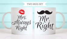 Mr. Right & Mrs. Always Right 2 Mug Set Dishwasher&Microwave Safe white mug coffee mugs Tea art make your own Message Mugs Cup