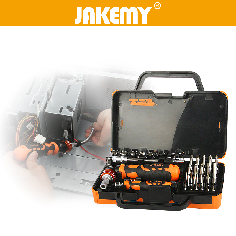 ФОТО JAKEMY 31 in 1 Professional Screwdriver Set Socket Slotted Phillips Torx Repairing Tools Kit For Computer Car Machine
